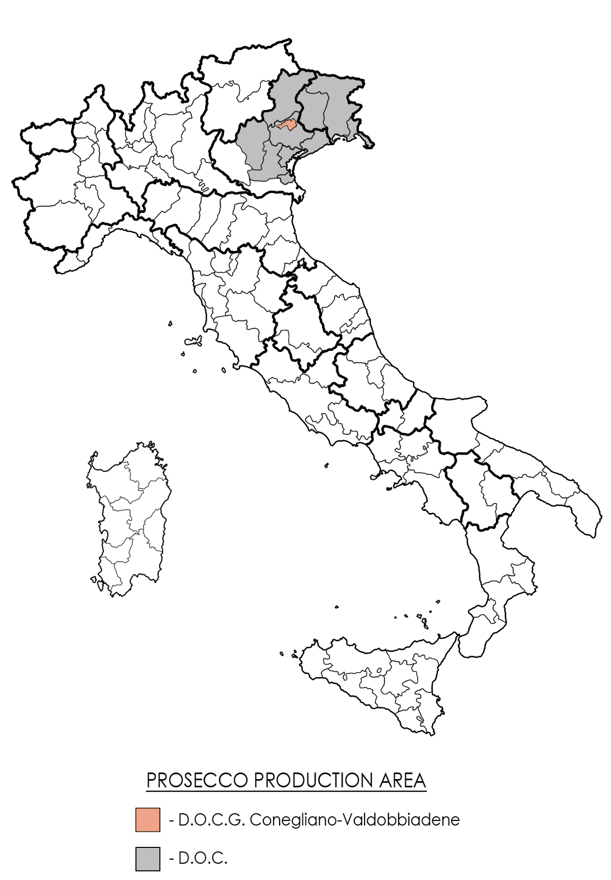 Map of Valdobbiadene DOCG Prosecco Region