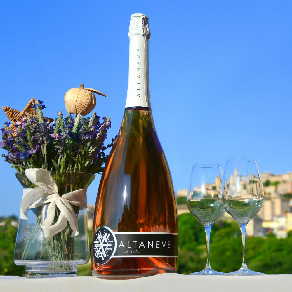 Altaneve Rose Jeroboam Double Magnum Bottle with Glasses